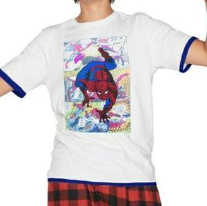 B2G1 Men's Marvel Spiderman Comicstrip Ringer Tee